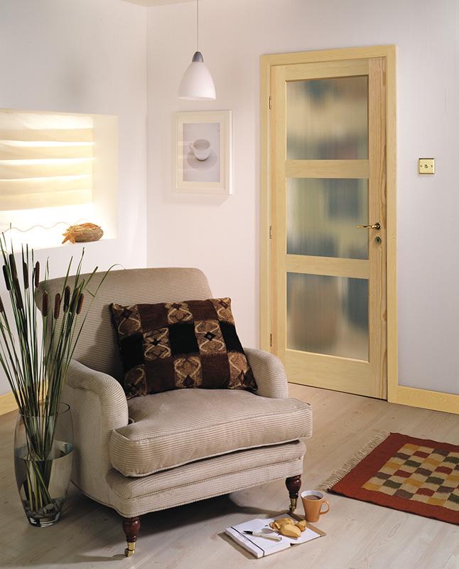 Masonite Interior Composite 3-Lite Panel Pine Door